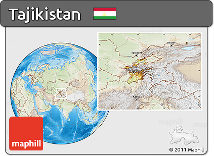 Physical Location Map of Tajikistan, lighten, land only