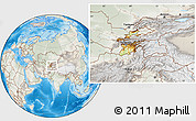 Physical Location Map of Tajikistan, lighten, semi-desaturated, land only