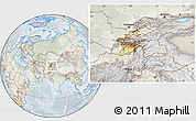 Physical Location Map of Tajikistan, lighten, semi-desaturated