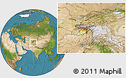 Physical Location Map of Tajikistan, satellite outside
