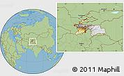 Physical Location Map of Tajikistan, savanna style outside