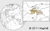 Satellite Location Map of Tajikistan, blank outside