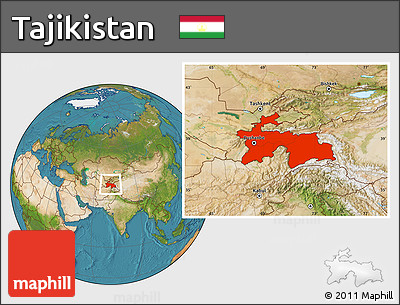 Satellite Location Map of Tajikistan
