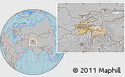 Satellite Location Map of Tajikistan, gray outside, hill shading