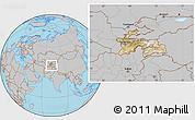Satellite Location Map of Tajikistan, gray outside
