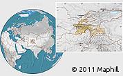 Satellite Location Map of Tajikistan, lighten, desaturated, land only