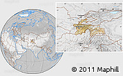Satellite Location Map of Tajikistan, lighten, desaturated