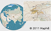 Satellite Location Map of Tajikistan, lighten, land only