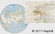 Satellite Location Map of Tajikistan, lighten