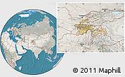 Satellite Location Map of Tajikistan, lighten, semi-desaturated, land only
