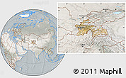 Satellite Location Map of Tajikistan, lighten, semi-desaturated