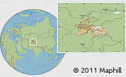 Satellite Location Map of Tajikistan, savanna style outside