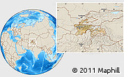 Satellite Location Map of Tajikistan, shaded relief outside