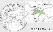 Savanna Style Location Map of Tajikistan, blank outside
