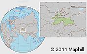 Savanna Style Location Map of Tajikistan, gray outside