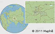 Savanna Style Location Map of Tajikistan, hill shading inside