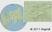 Savanna Style Location Map of Tajikistan, hill shading outside
