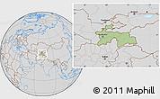 Savanna Style Location Map of Tajikistan, lighten, desaturated