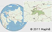Savanna Style Location Map of Tajikistan, lighten, land only