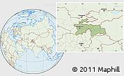 Savanna Style Location Map of Tajikistan, lighten