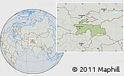 Savanna Style Location Map of Tajikistan, lighten, semi-desaturated