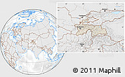 Shaded Relief Location Map of Tajikistan, lighten, desaturated