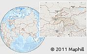 Shaded Relief Location Map of Tajikistan, lighten