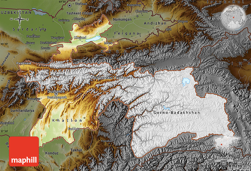 Physical Map of Tajikistan darken