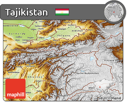 Free Physical Map of Tajikistan