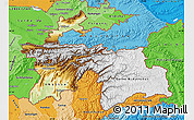 Physical Map of Tajikistan, political shades outside