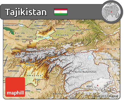 Free Physical Map of Tajikistan satellite outside