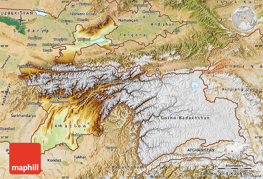 Physical Map of Tajikistan satellite outside