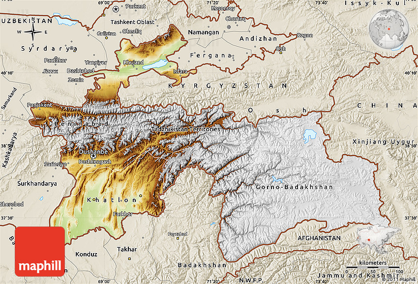 Physical Map of Tajikistan shaded relief outside