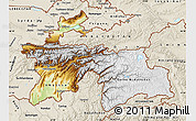 Physical Map of Tajikistan, shaded relief outside