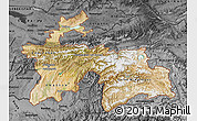 Satellite Map of Tajikistan, darken, desaturated