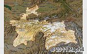 Satellite Map of Tajikistan, darken