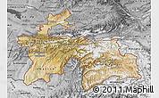 Satellite Map of Tajikistan, desaturated