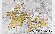 Satellite Map of Tajikistan, lighten, desaturated