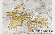 Satellite Map of Tajikistan, lighten, semi-desaturated