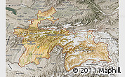 Satellite Map of Tajikistan, semi-desaturated
