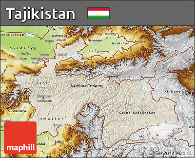 Free Shaded Relief Map of Tajikistan physical outside