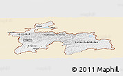Classic Style Panoramic Map of Tajikistan, single color outside