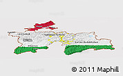 Flag Panoramic Map of Tajikistan, flag centered
