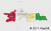 Flag Panoramic Map of Tajikistan, flag aligned to the middle