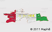 Flag Panoramic Map of Tajikistan, flag rotated