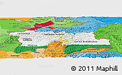 Flag Panoramic Map of Tajikistan, political shades outside