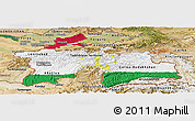 Flag Panoramic Map of Tajikistan, satellite outside