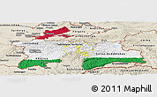Flag Panoramic Map of Tajikistan, shaded relief outside