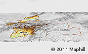 Physical Panoramic Map of Tajikistan, lighten, desaturated