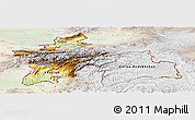 Physical Panoramic Map of Tajikistan, lighten